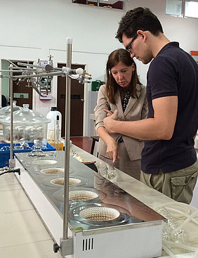 Consulting a German student in the UPM lab (Foto: Zude)
