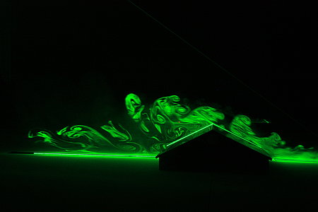 Visualization of air flow with laser light section (Photo: Stollberg/ATB)